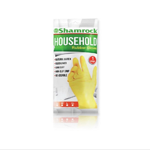 Shamrock Yellow Latex Household Rubber Gloves, Small, 1 pair