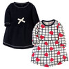 Toddler Organic Cotton Dresses, Black and Red Heart Long Sleeve 2-Pack