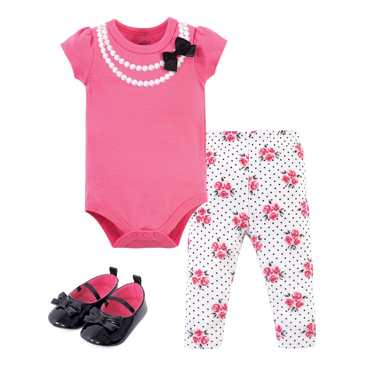 Party Pearls Little Treasure Bodysuit Pant and Shoe Set
