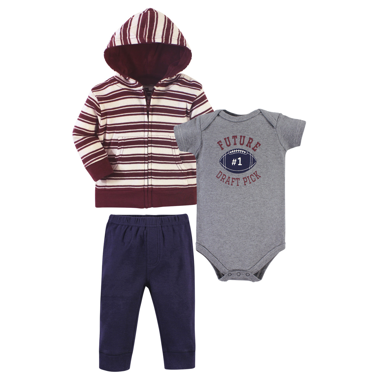 Hudson Baby Unisex Cotton Hoodie Bodysuit or Tee Top and Pant Set