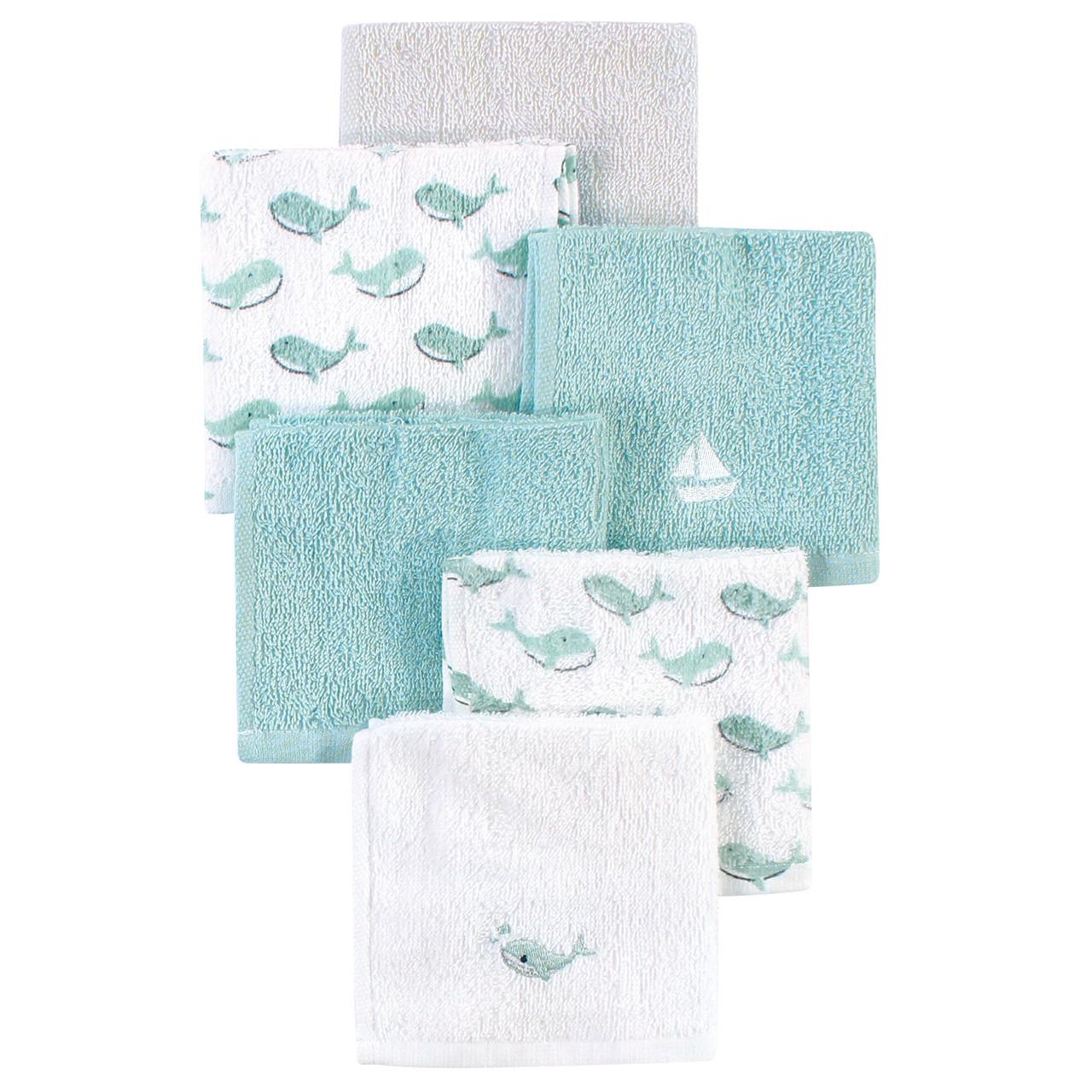 Luvable Friends Super Soft Cotton Washcloths Blue Whale Hudson Childrenswear