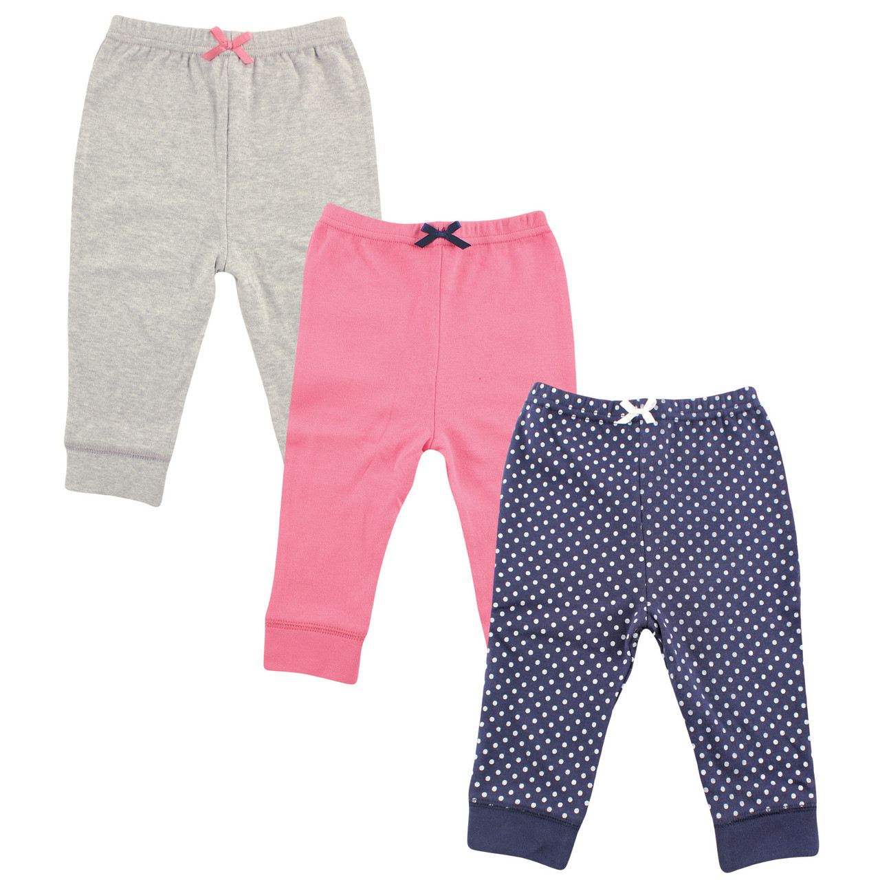 LUVABLE FRIENDS BABY GIRLS 3 PACK TAPERED ANKLE PANTS COTTON 0 TO 24 MONTHS NEW