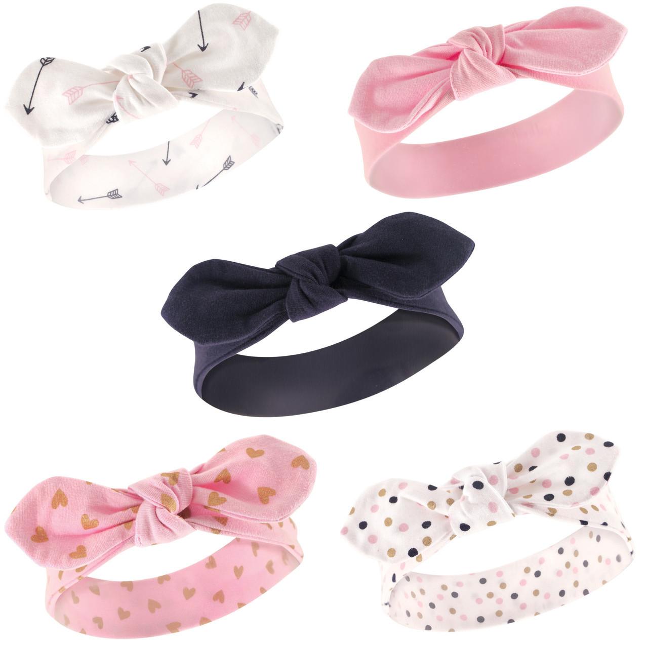 Baby Girl Dress Headband Pink with White Hearts