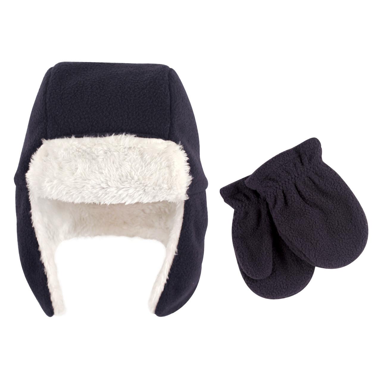 Navy Hudson Baby Boy Toddler Trapper Hat and Mitten Set