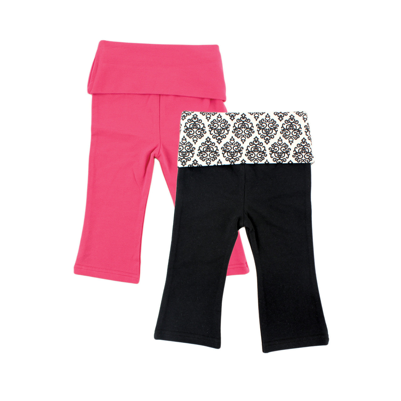 Yoga Sprout Yoga Pants 2 Pack Pink And Black Damask Baby And Toddler Clothes Accessories And Essentials