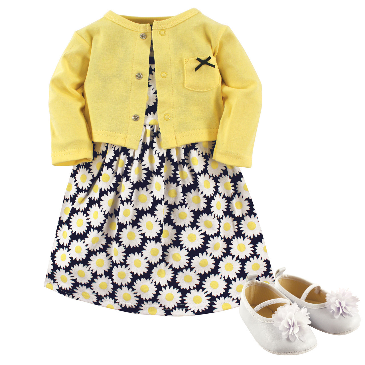 293520371 Dress, Cardigan and Shoes, 3-Piece Set, Daisies - Hudson Childrenswear