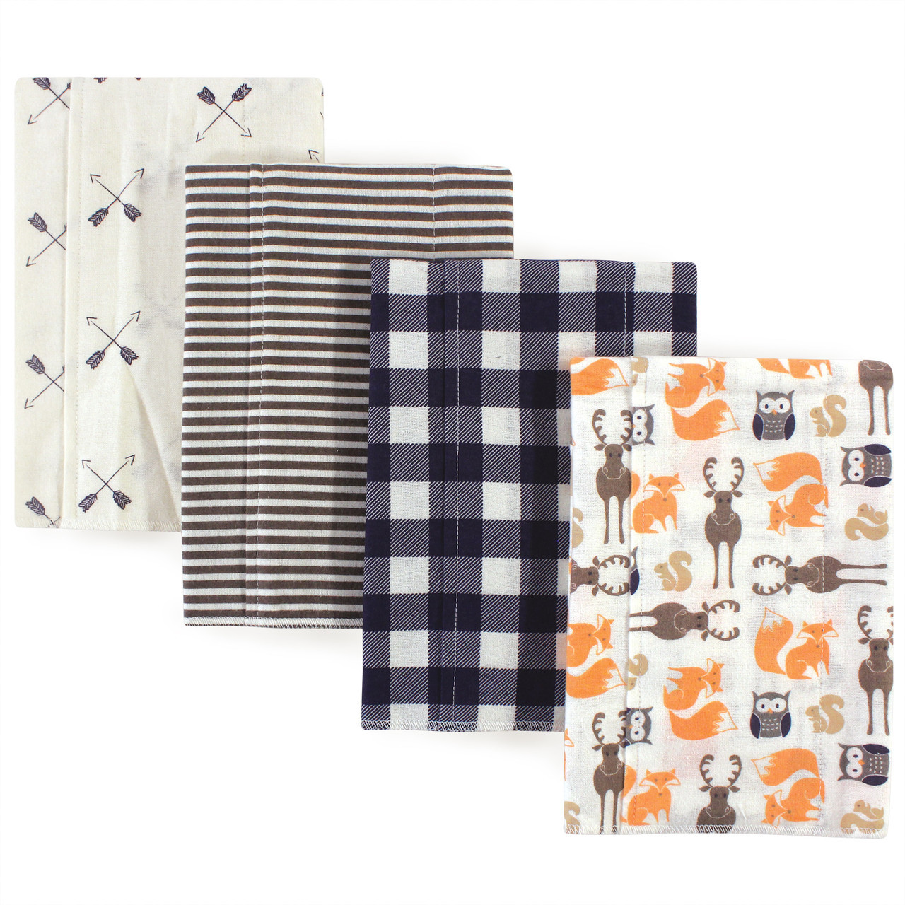 RENARDS Hudson Baby Boy Flanelle Burp Cloth 4-Pack