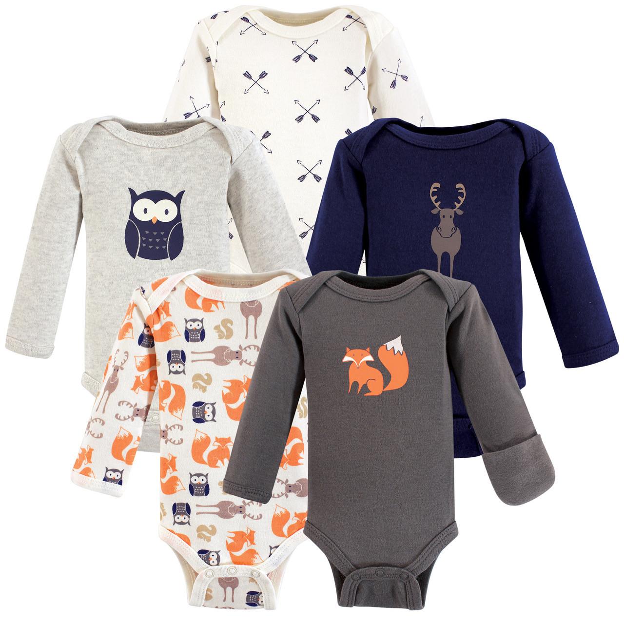 Football 5-Pack Hudson Baby Boy Long-Sleeve Bodysuits