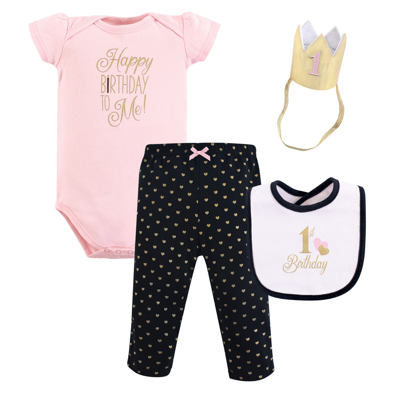 First Birthday Outfit Gift Set 4 Piece Black And Pink 12 Months