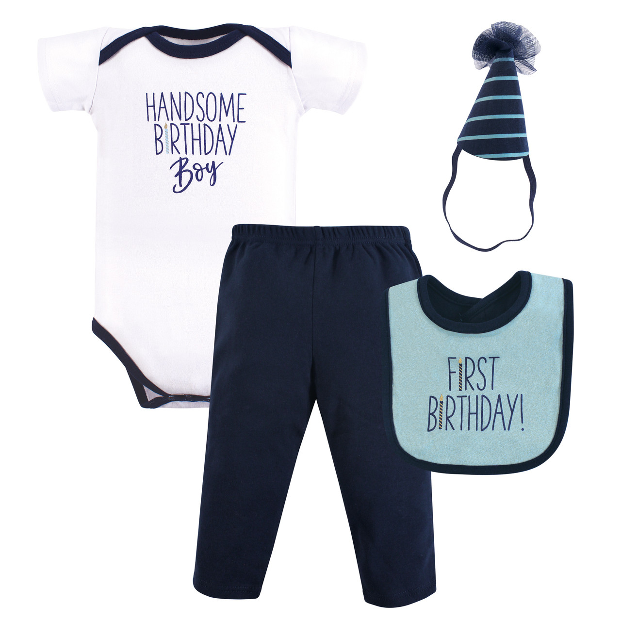 First Birthday Outfit Gift Set 4 Piece Handsome Boy 12 Months