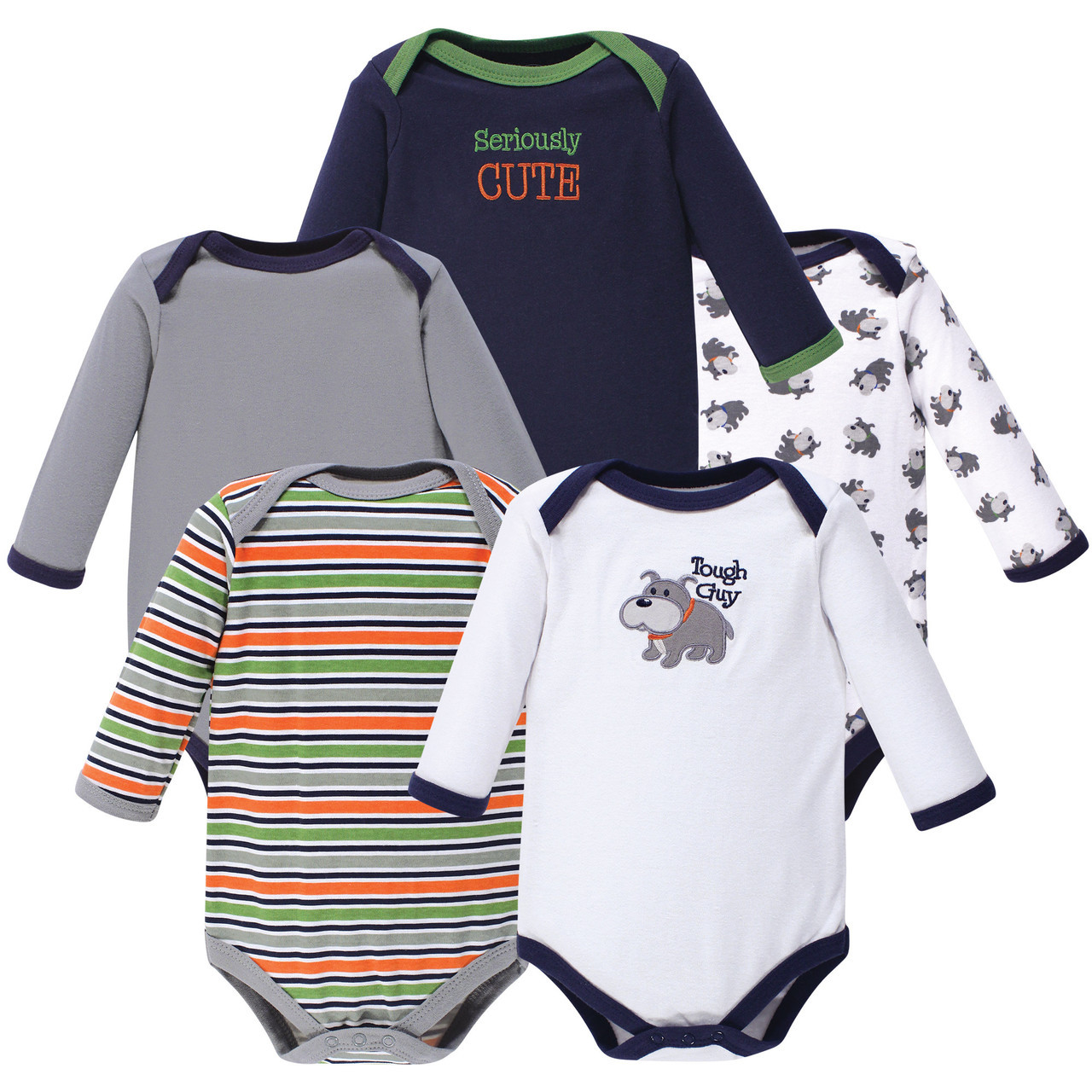 5-Pack White Luvable Friends Boy and Girl Long-Sleeve Bodysuits