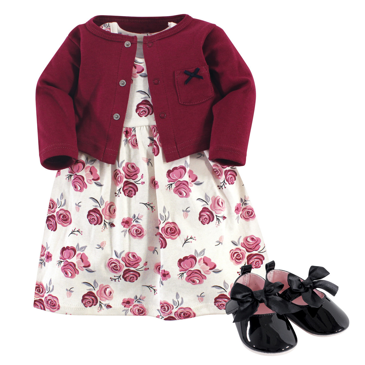 Shoe Set Hudson Baby Girl Dress 3 Piece Cardigan Rose