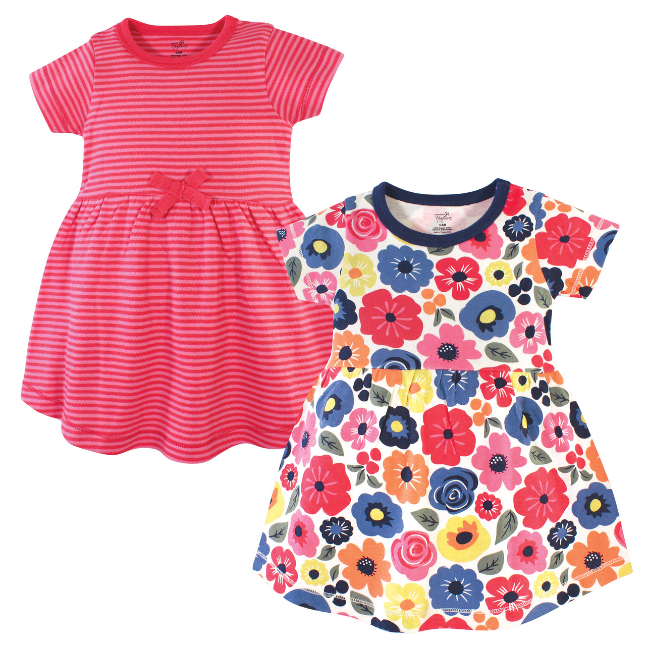 Tiny Flowers Touched By Nature Girl Toddler Organic Cotton Dress 2-Pack