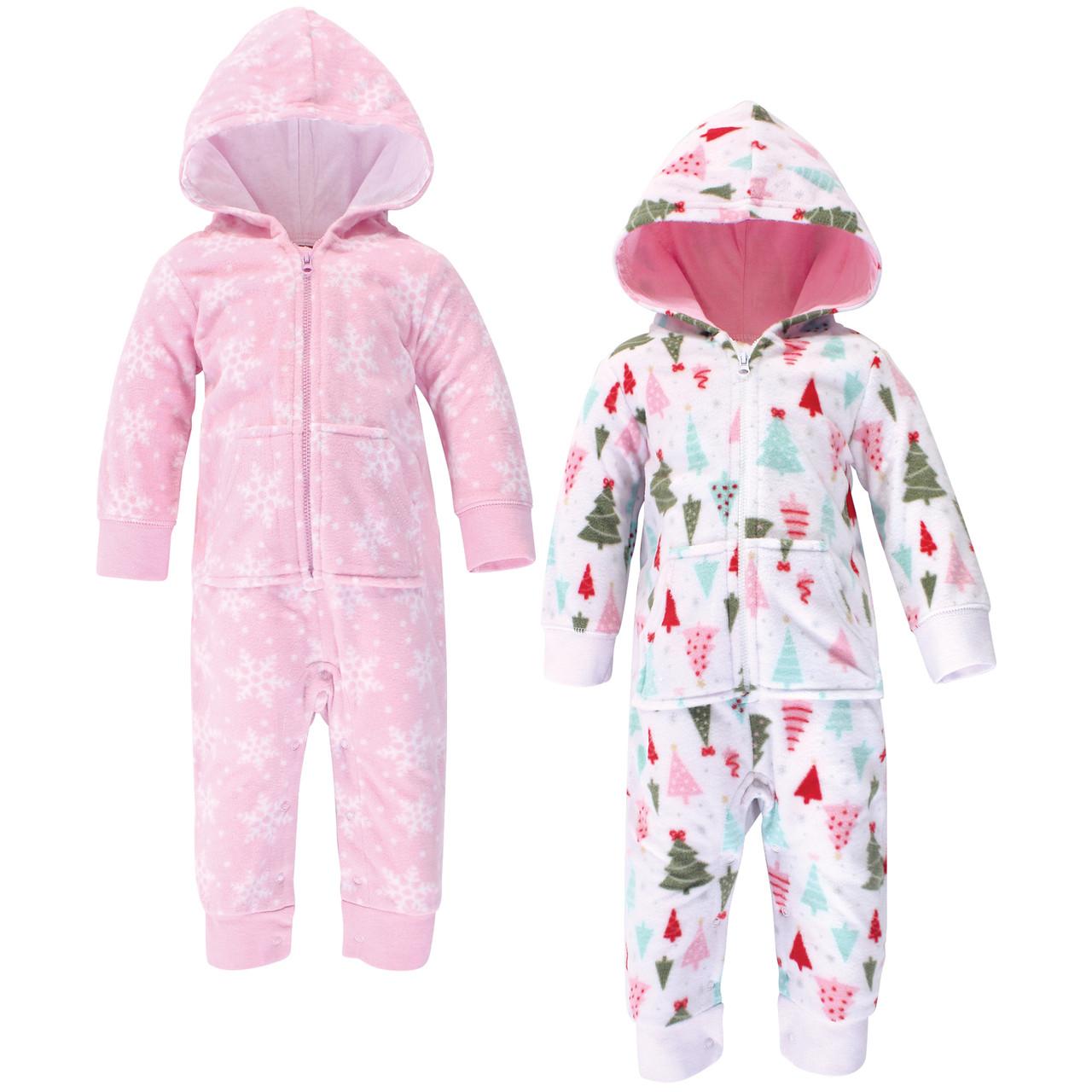 Hudson Baby Girl Toddler Fleece Jumpsuits 2-Pack Gray//Pink Snowflake