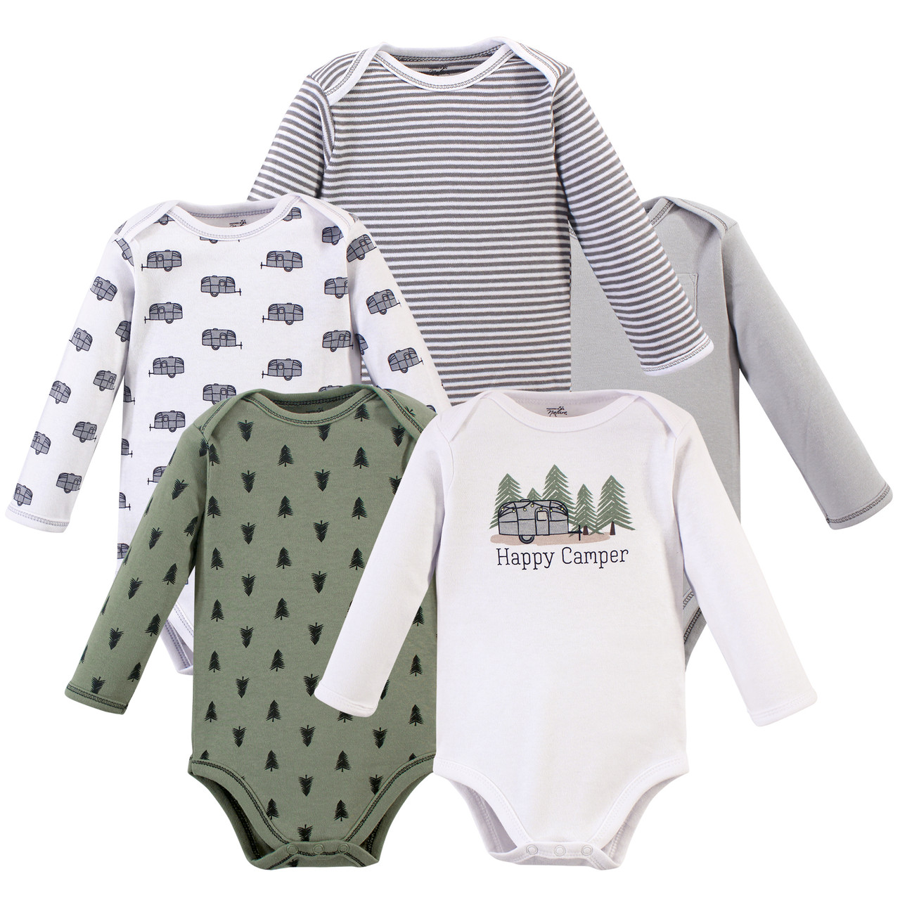 9-12 Months Touched by Nature Baby Organic Cotton Bodysuits White Long Sleeve 5 Pack 12M