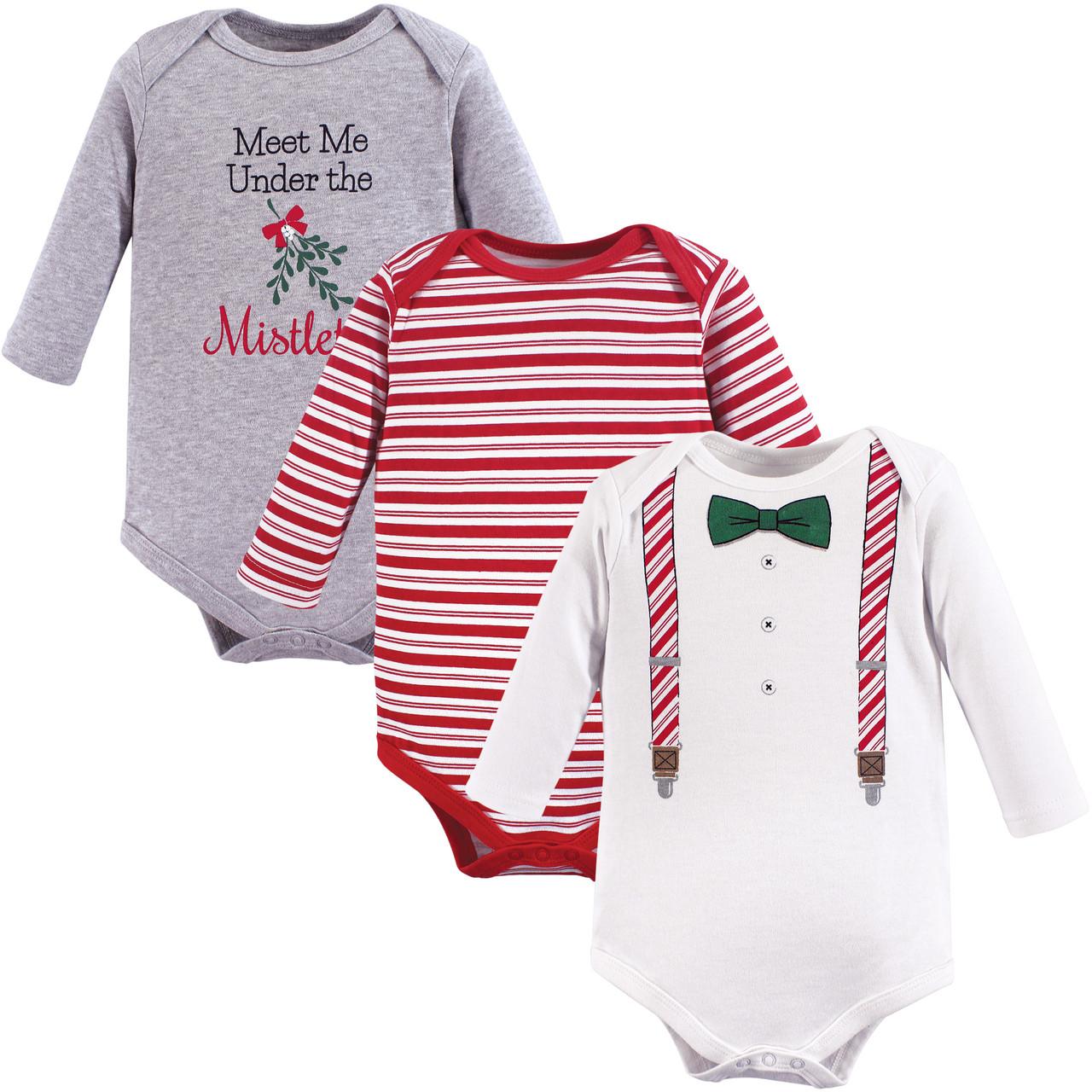 Christmas Suspenders 3-Pack Little Treasure Boy Cotton Bodysuits