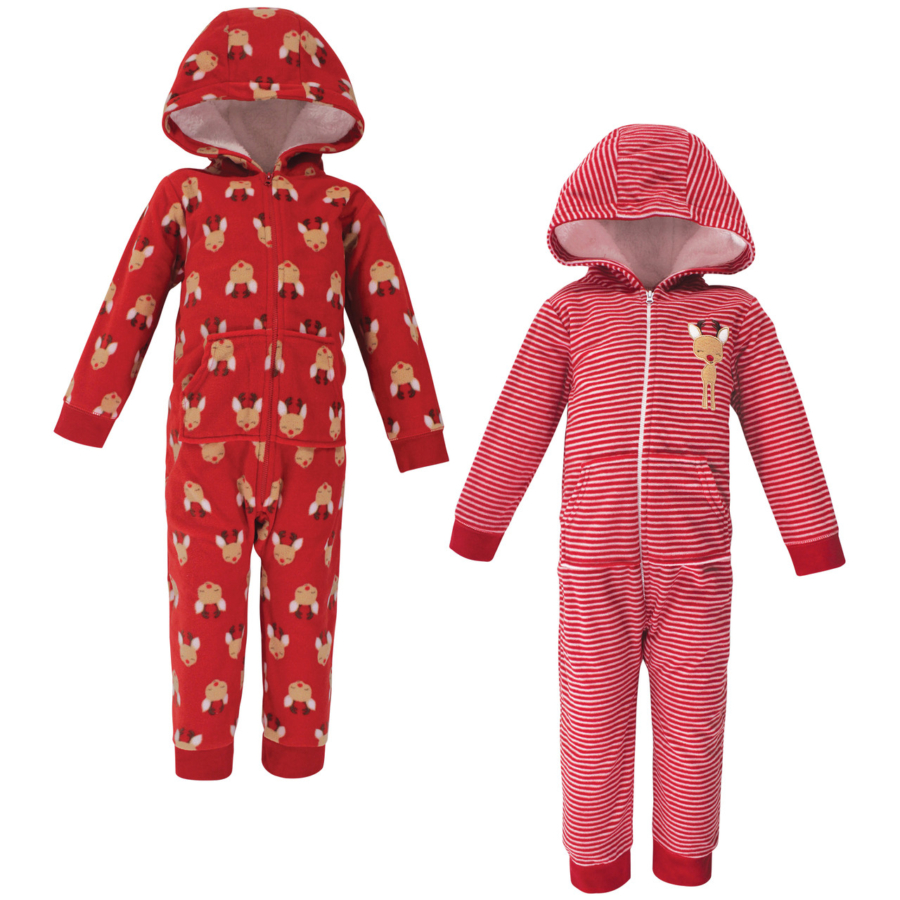 Essentials Baby Girls 2-Pack Microfleece Hooded Coverall