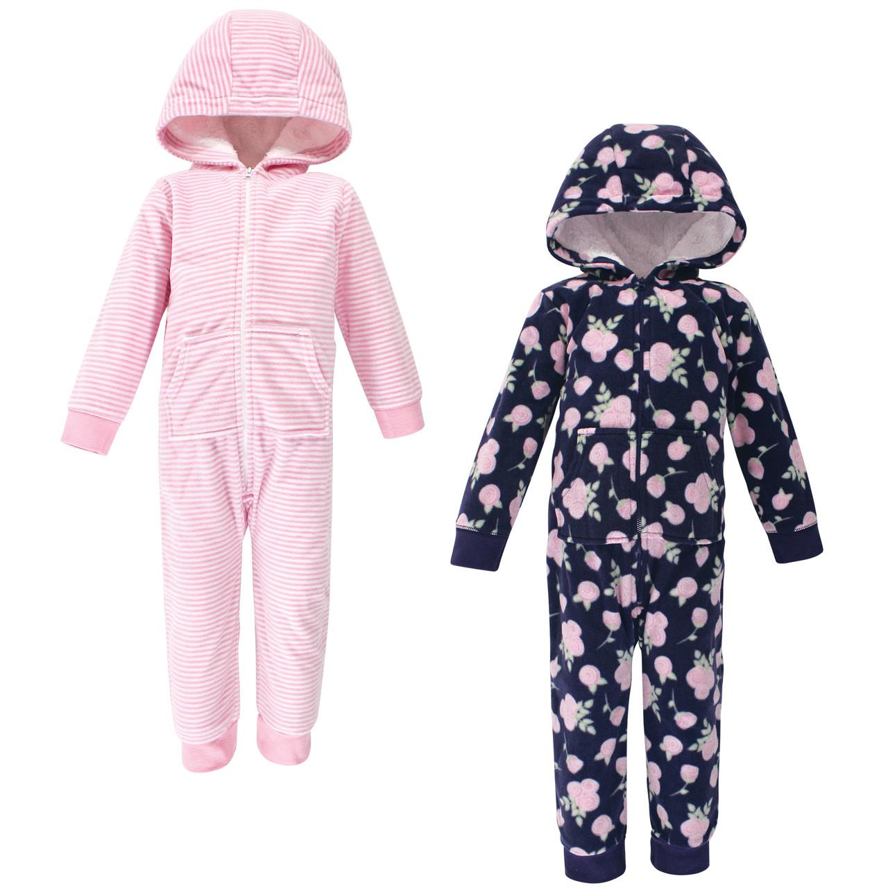 Navy Rose Hudson Baby Girl Toddler Fleece Jumpsuits 2pk
