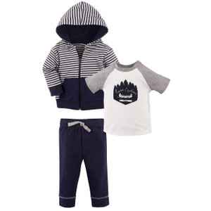 Shoot for the Mo Tee Top and Pants 3-Piece Set Yoga Sprout Boy Toddler Hoodie