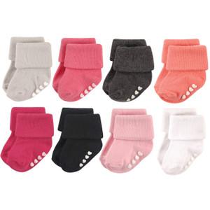 Baby Girls Soft Cotton Anti-Slip Non-Skid Cuff Socks 3 Pair Pack 0-9 Months