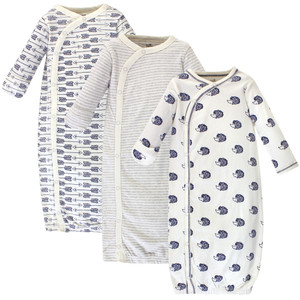 Touched By Nature Boy and Girl Organic Kimono Gown 3-Pack Blue Whale