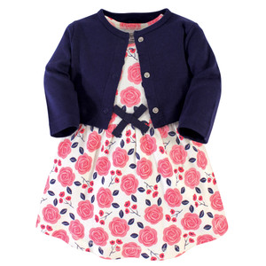 Touched By Nature Girl Organic Cotton Dress and Cardigan Ditsy Floral