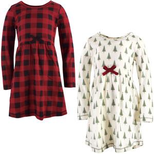 Long Sleeve Organic Dress 2-Pack Buffalo Plaid