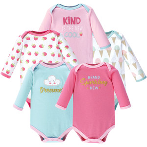 5-Pack Pink Bunny Luvable Friends Girl Long-Sleeve Bodysuits