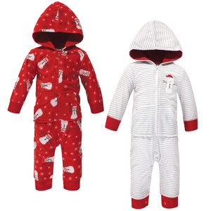 Red Reindeer 2-Pack B Hudson Baby Boy and Girl Fleece Coveralls and Union Suits