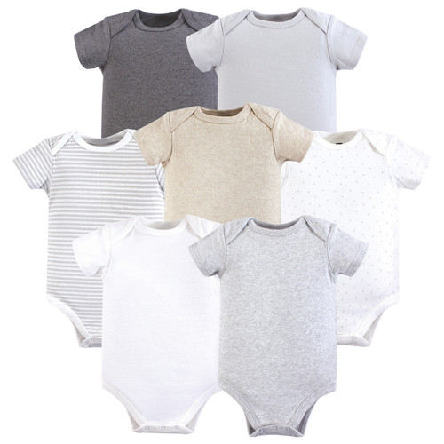 2993c4bef Bodysuits, 7-Pack, Neutral Basic. Hudson Baby 7-pack hanging bodysuits are  ...