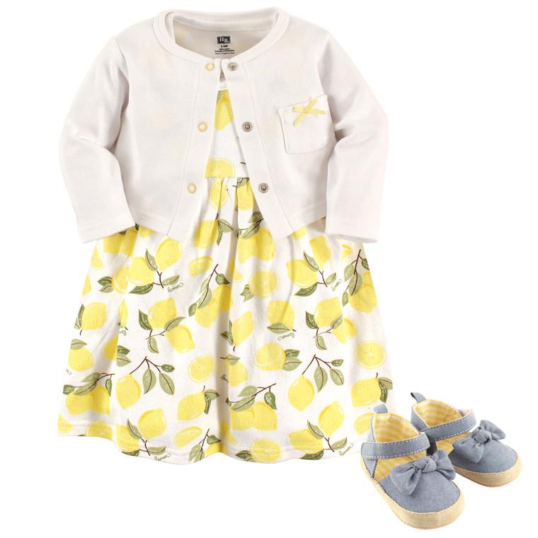 Dress, Cardigan and Shoes, 3-Piece Set, Lemons