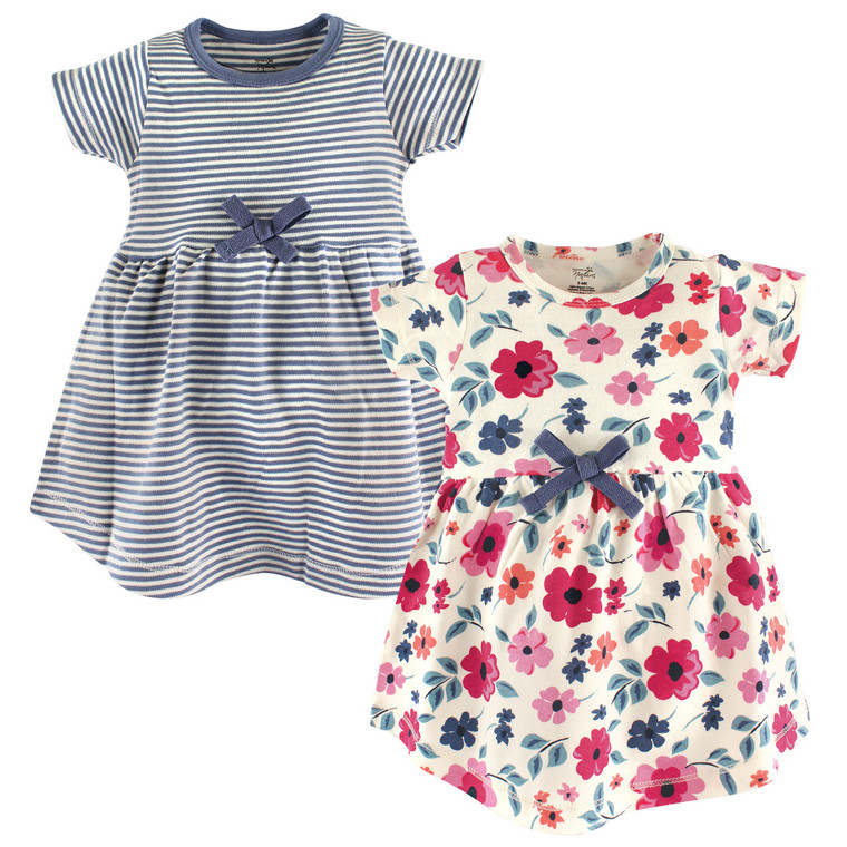 Organic Cotton Dress, 2-Pack, Floral Stripe