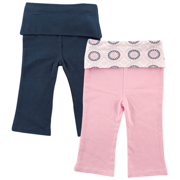 Yoga Sprout Yoga Pants 2 Pack Navy And Pink Ornamental Baby And Toddler Clothes Accessories And Essentials