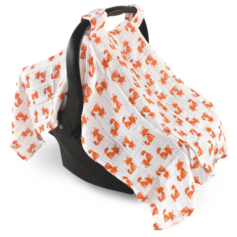 Hudson Baby Muslin Car Seat Canopy Foxes Baby And Toddler