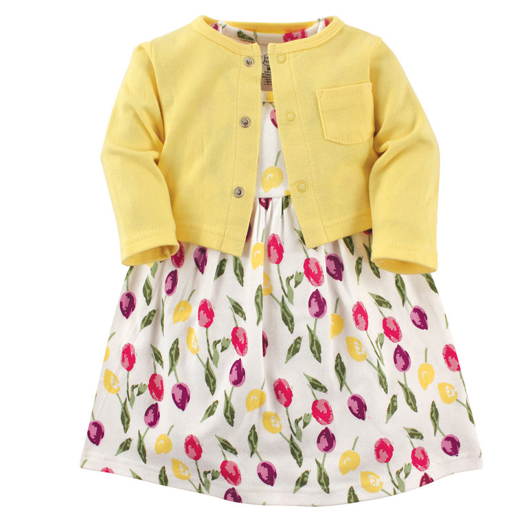 Cardigan and Dress Set, Tulips