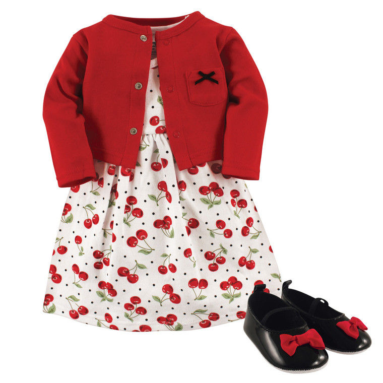 Dress, Cardigan and Shoes, 3-Piece Set, Cherries