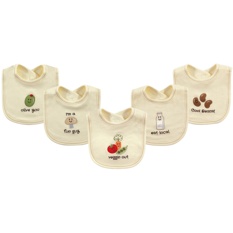 Organic Bibs, 5-Pack, Veggies
