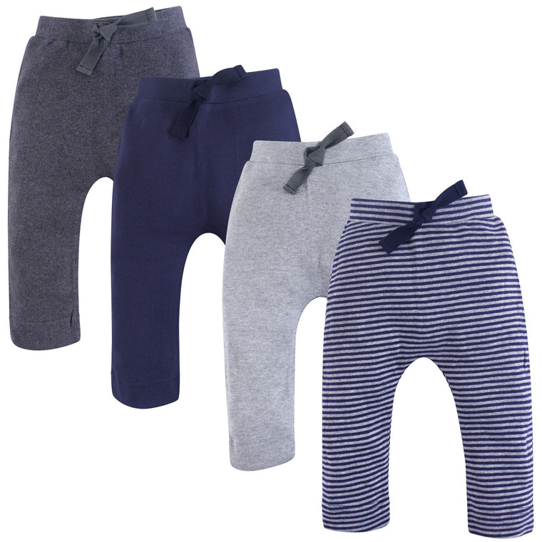 Organic Harem Pants, 4-Pack, Navy and Gray