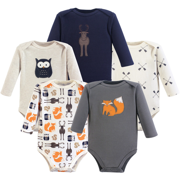 Long Sleeve Bodysuits, 5-Pack, Forest
