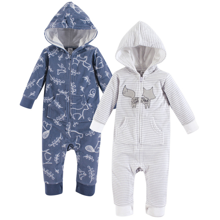 Essentials Baby Boys 2-Pack Microfleece Hooded Coverall
