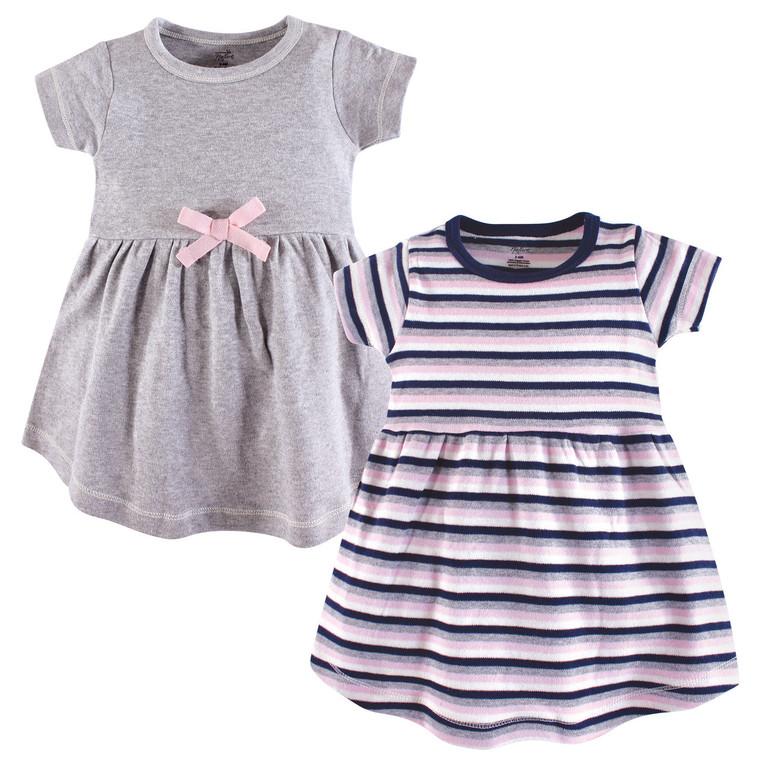 Baby Organic Cotton Dress, 2-Pack, Gray Stripes