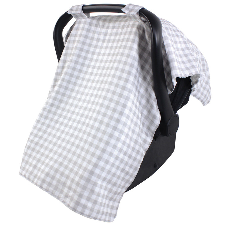 Hudson Baby Reversible Car Seat Canopy Gray Gingham Baby And Toddler Clothes Accessories And Essentials