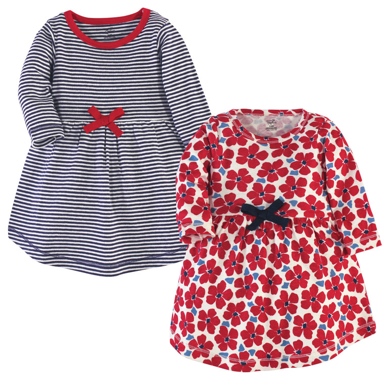 Toddler Organic Cotton Dresses, Red Flowers Long Sleeve 2-Pack