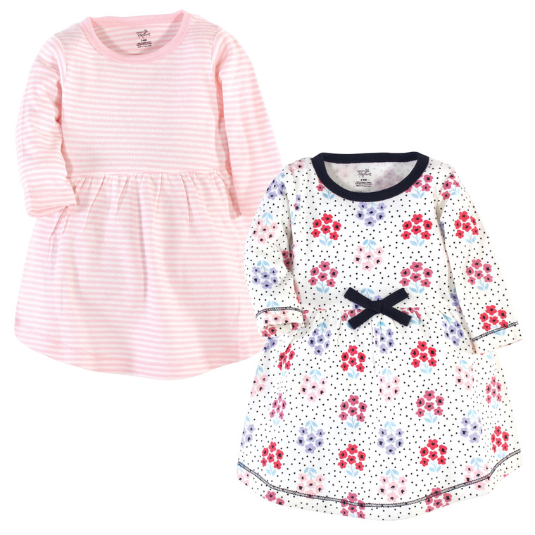 Toddler Organic Cotton Dresses, Floral Dot Long Sleeve 2-Pack