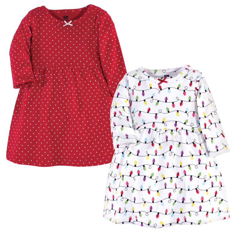 Toddler Cotton Dresses, Christmas Lights Long Sleeve 2-Pack