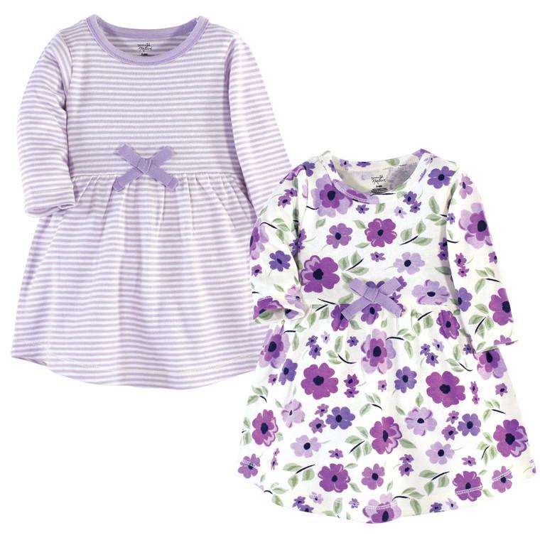 Toddler Organic Cotton Dresses, Purple Garden Long Sleeve 2-Pack