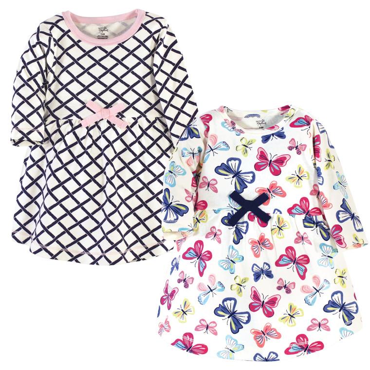 Toddler Organic Cotton Dresses, Bright Butterflies Long Sleeve 2-Pack