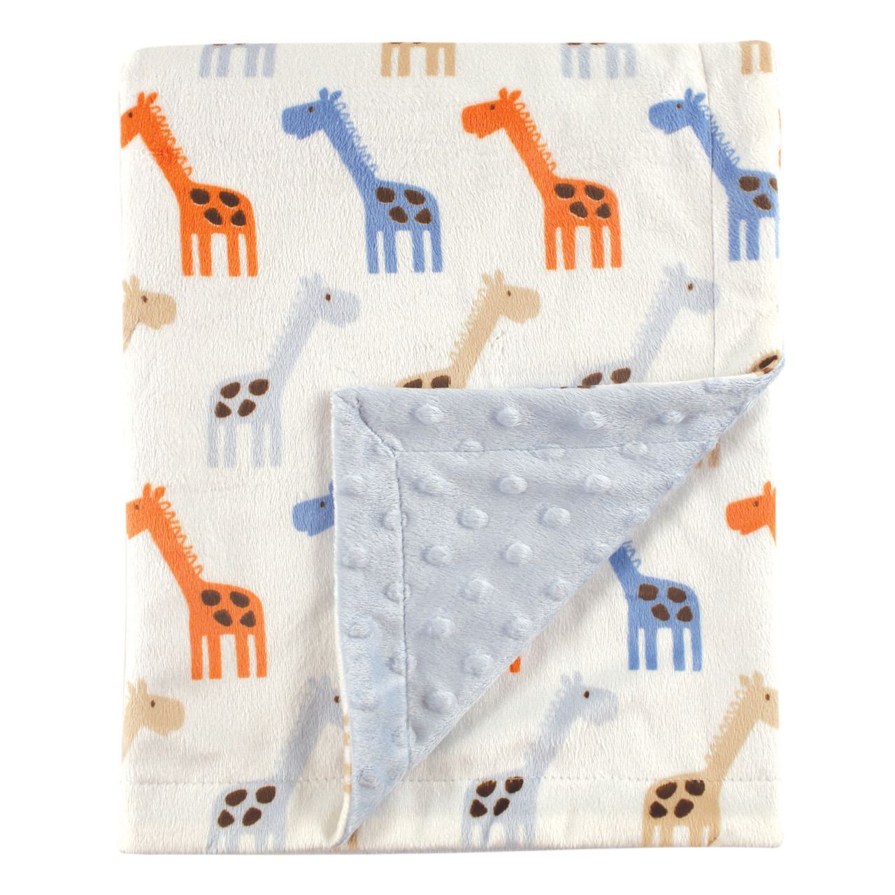 Blue Hudson Baby Boy Minky Blanket with Dotted Mink Backing