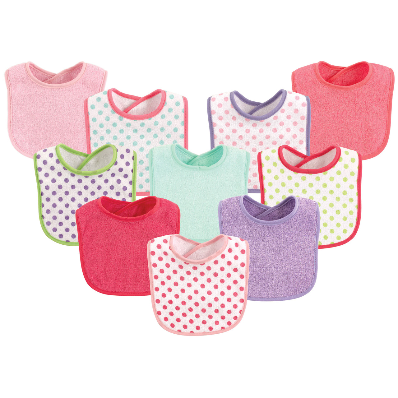 Luvable Friends Girl Feeder Bibs 10-Pack Girl Yellow Solid