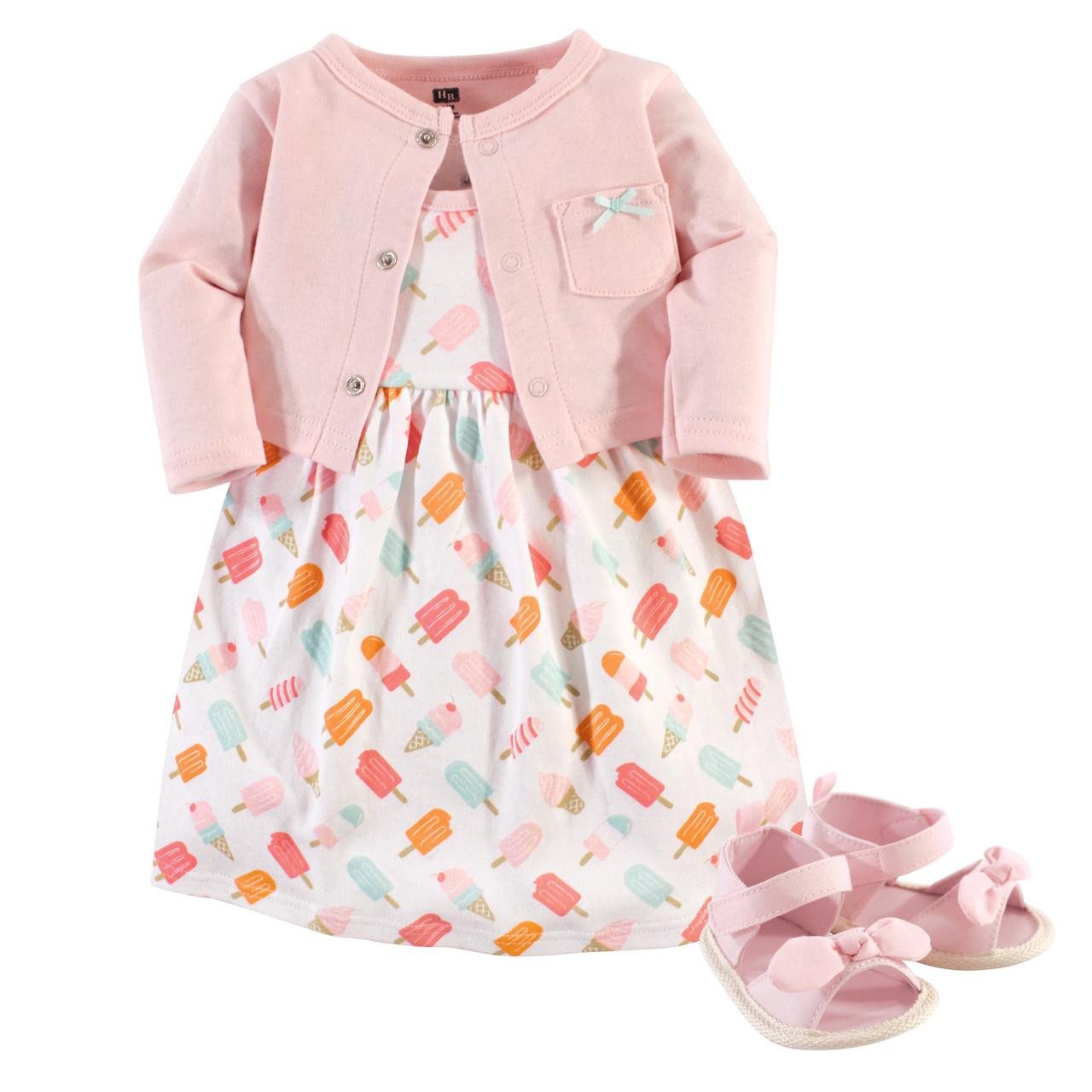 Hudson Baby Girls Cotton Dress and Cardigan Set